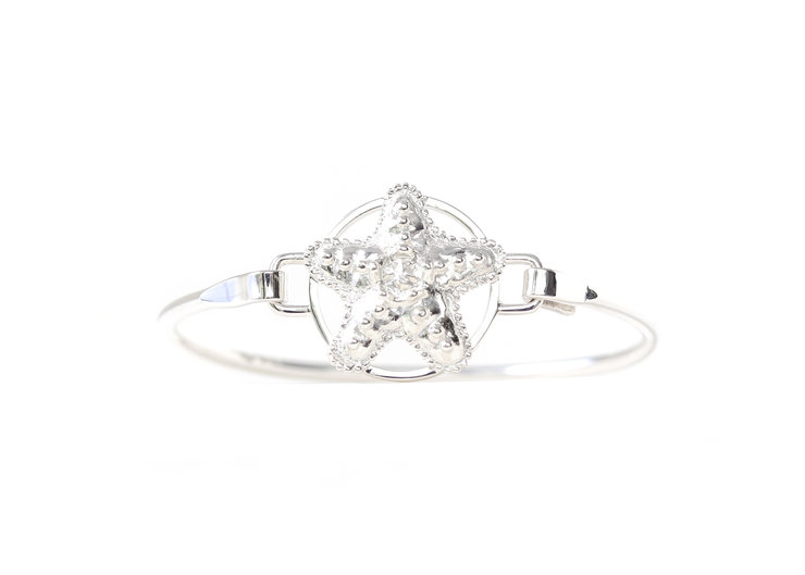 Sterling Silver BradDaShey bangle with interchangeable face piece Starfish by Havilah Designer Jewellers