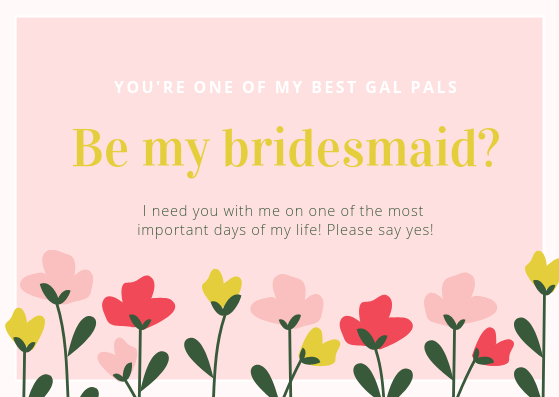 floral digital card be my bridesmaid by Lourier