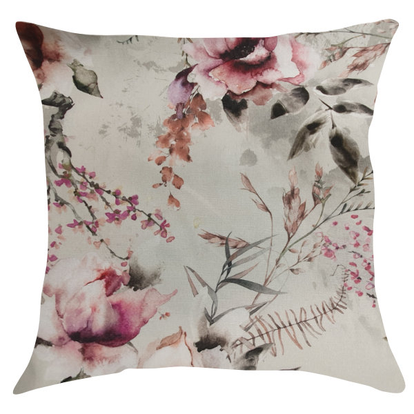 Off White Pillow/Scatter Cushion with Tea Roses & Flowers 45x45cm (Inner Included) by Going Dutch In Sa