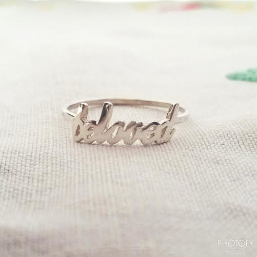 Handmade Sterling Silver Personalized Fine Single Name Ring