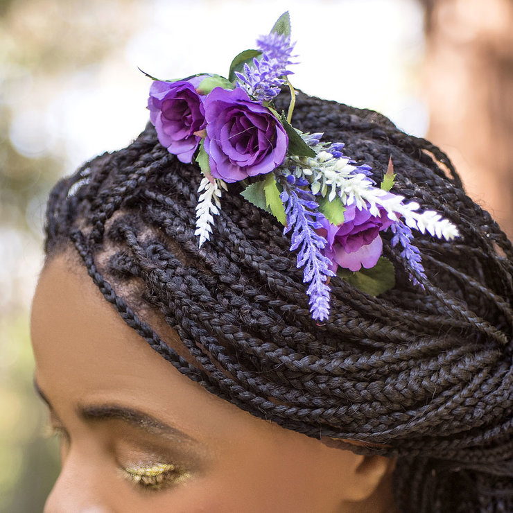 Purple Roses & Lavender Half Crown by Blackeyed Susan