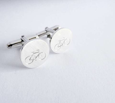 Sterling silver bicycle cufflinks - cyclist gift by thula