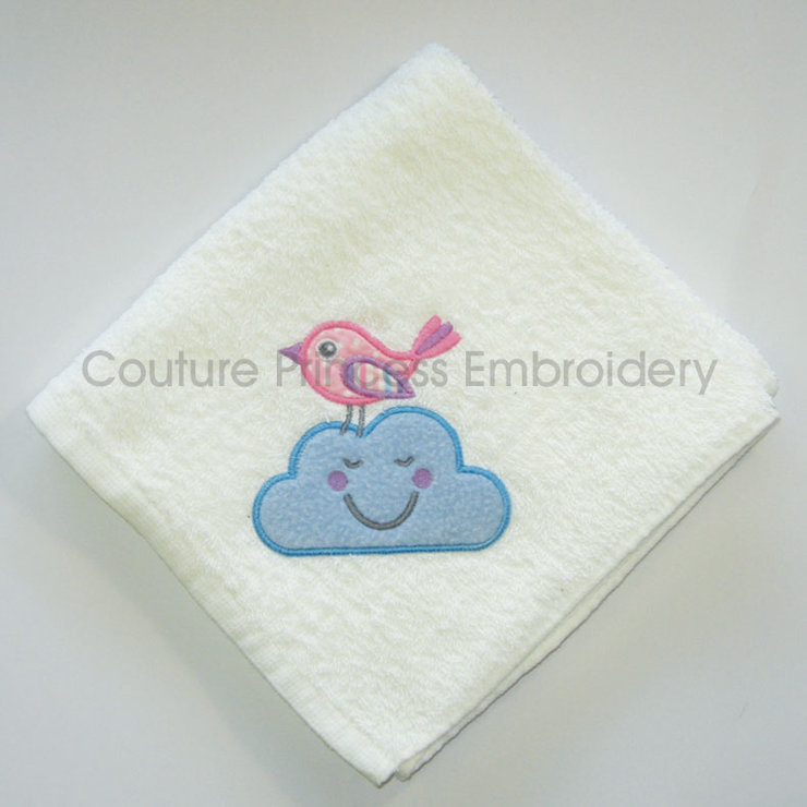 Bird on a Cloud Burp Cloth / Dribble Cloth / Voeltjie op Wolkie Spoegdoek by Couture Princess Embroidered Stuff