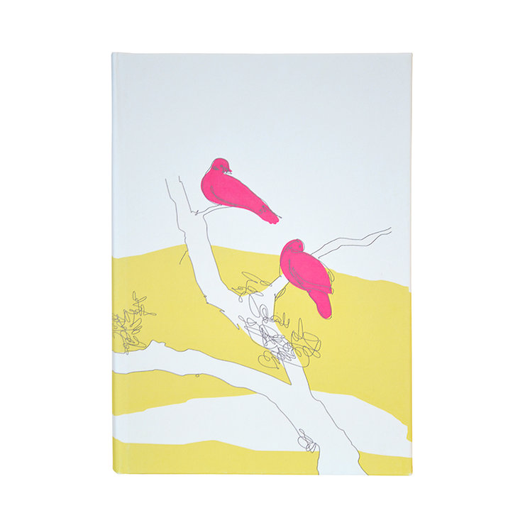 """Bird Scribbles"" A5 hardcover notebook in buttercup, fuchsia and charcoal by i Spy"