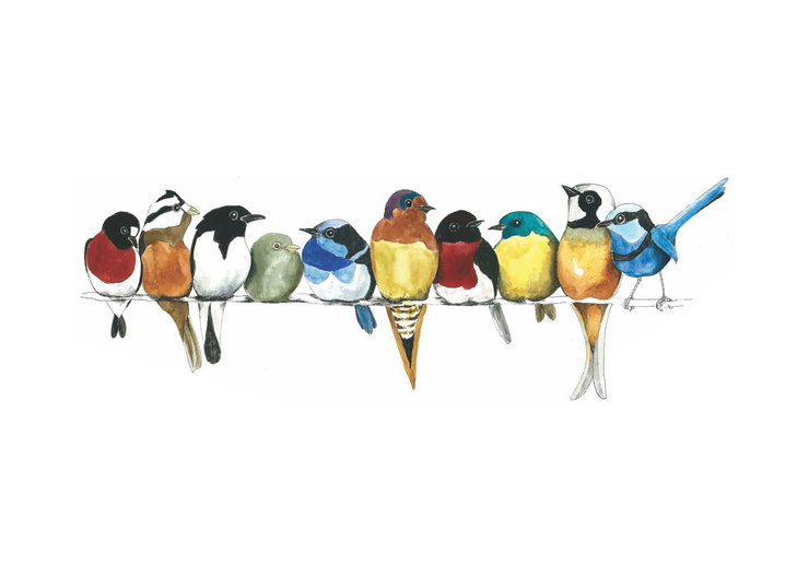 A3 print - Birds on a wire by Treehouse Arts