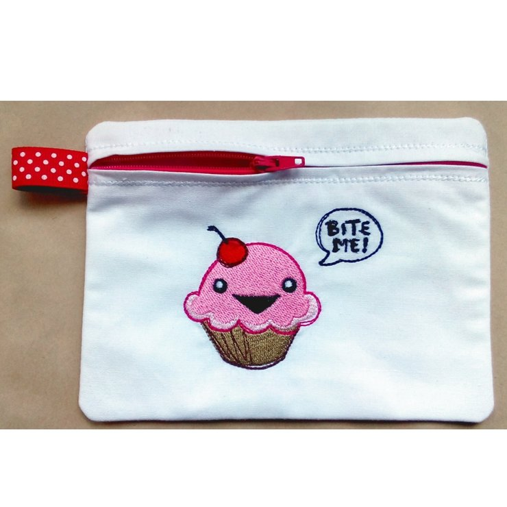 """Bite me"" cupcake embroidered zipper purse by Thats so ME!"