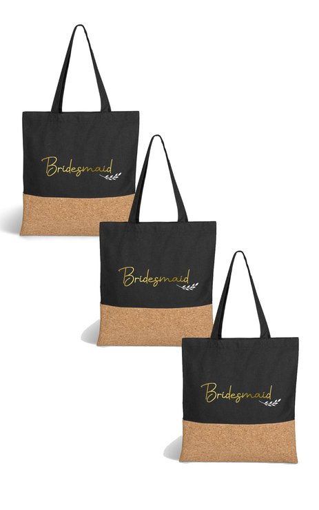 3 Pack Bridesmaid Cotton & Cork Tote Bag Black With Foil by Love & Sparkles