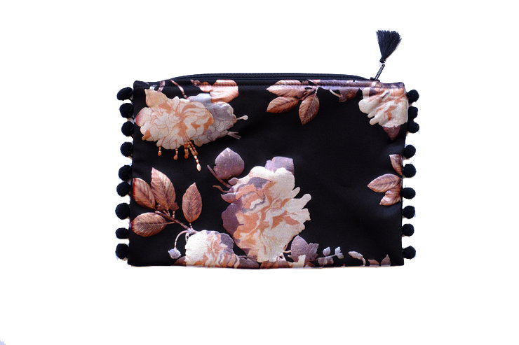 Black Foiled Big Floral Print Travel Purse by cover me pretty