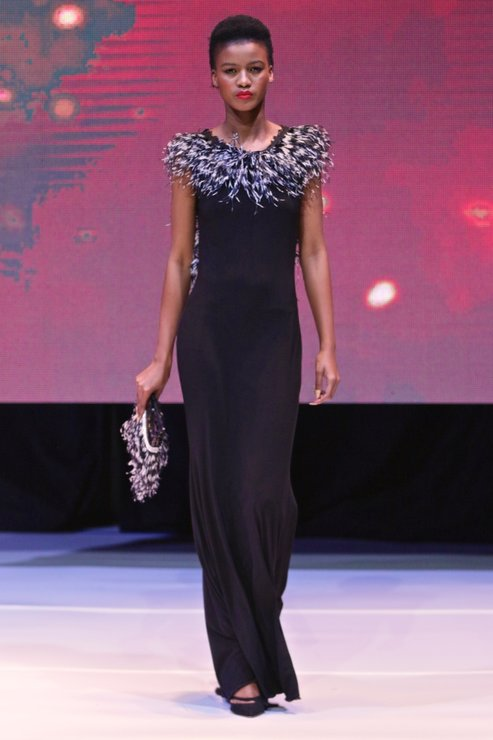 Black Spandex Maxi Wit Feather Detail by Eli Ball - made in Africa