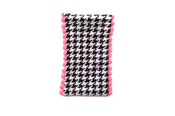 Black & White Houndstooth Print Sunglass Pouch by cover me pretty