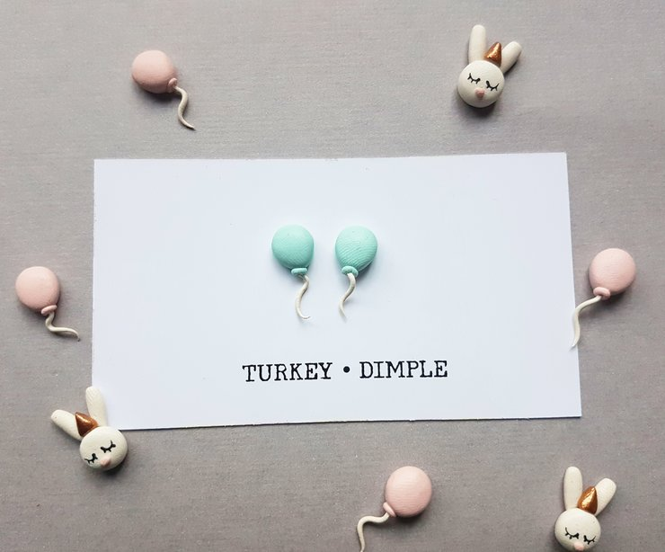Blue Balloon Studs by turkey dimple