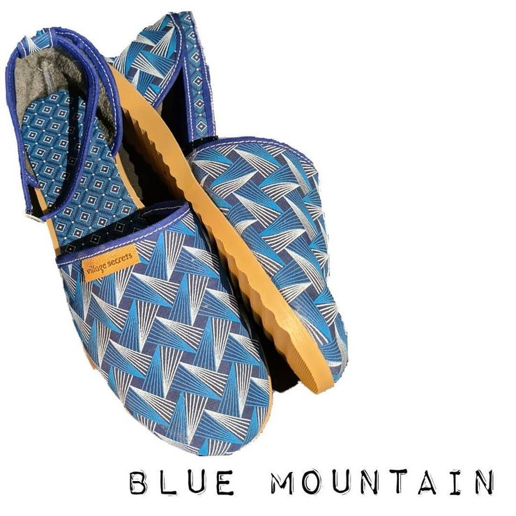 Ladies Sandal in Shweshwe - Blue Mountain by Village Secrets Shoes