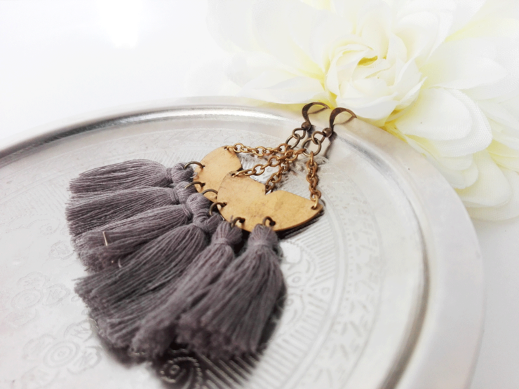 Boho Brass Tassel Earrings by Chilli Pip Designs