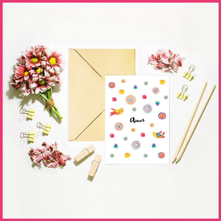 Boho Set of 4 Occasional Note Cards and Bonus Free Card by The Art of Creativity Studio
