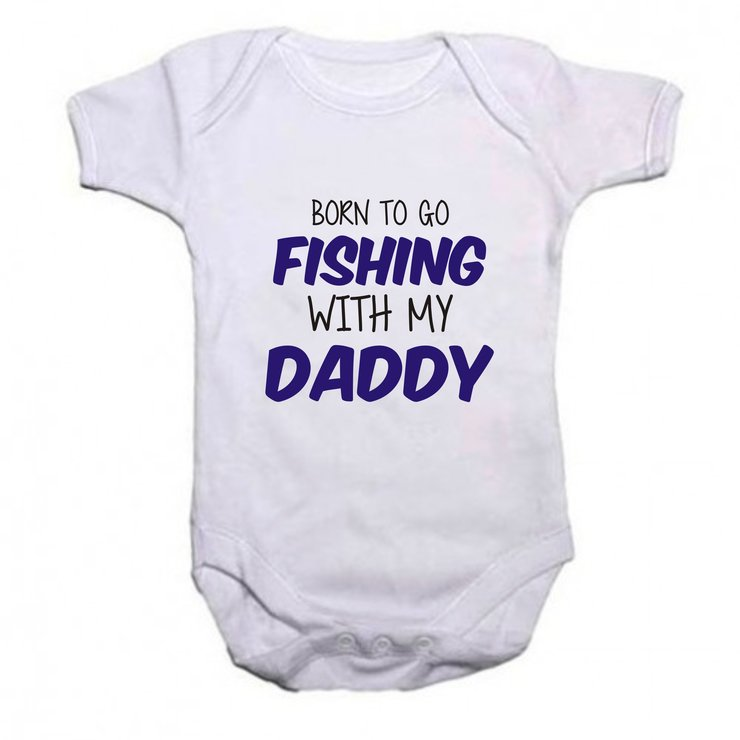 Born to go Fishing with my Daddy baby grow by Qtees Africa (Pty)Ltd