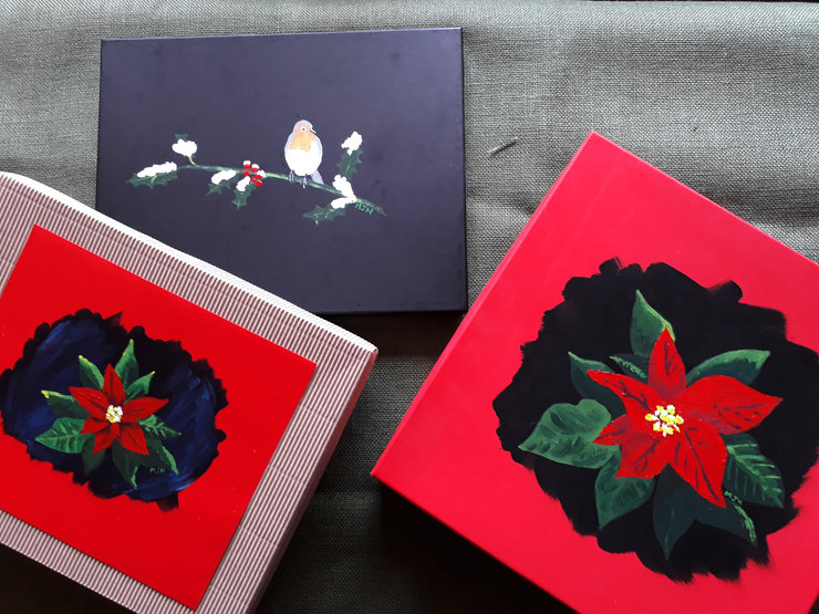 Hand Painted Christmas Gift Boxes