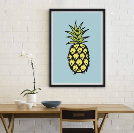 Pineapple, Blue, Illustration Poster by Call It Magic Designs