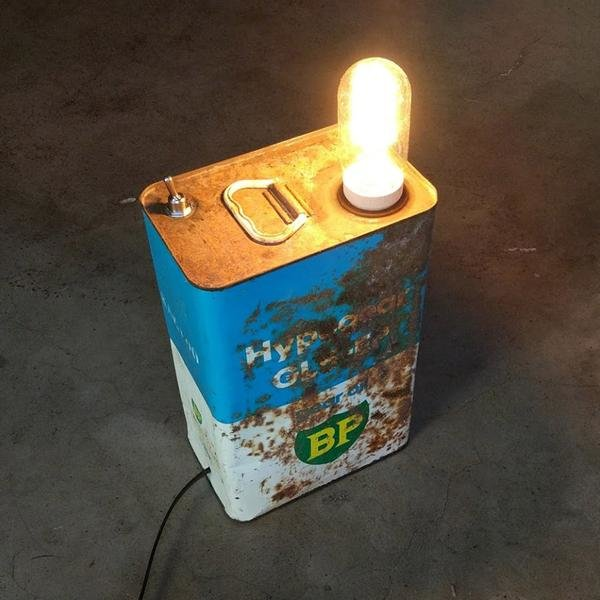 BP Oil Tin Lamp by Unique Creations