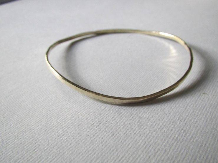 Brass Hammered Bangle by Liwo Design