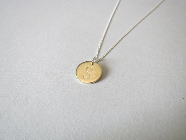 Brass Initial Disc Pendant on Silver Chain by Liwo Design