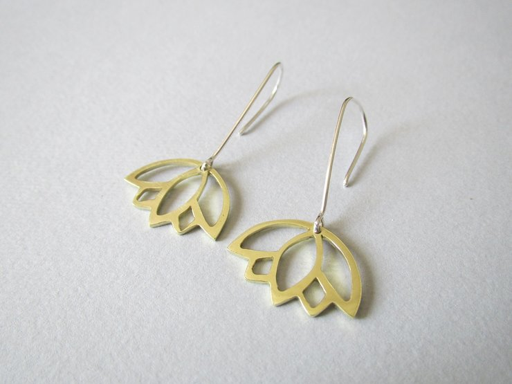 Brass Lotus Flower Hook Earrings by Liwo Design