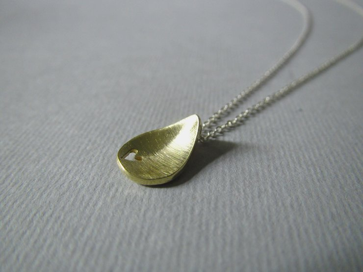 Brass Teardrop with Heart Pendant by Liwo Design