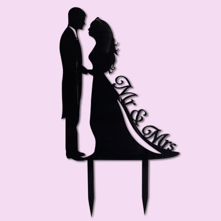 Silhouette Wedding Cake Topper (wood or acrylic) by Polkadot Box
