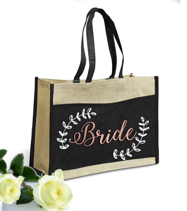 Bride Tote Shopper Bag Rose Gold Foil Bridesmaid Wedding Bridal Gift  by Love & Sparkles