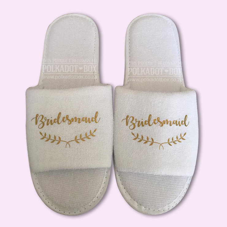 Bridesmaid Floral Wedding Slippers by Polkadot Box