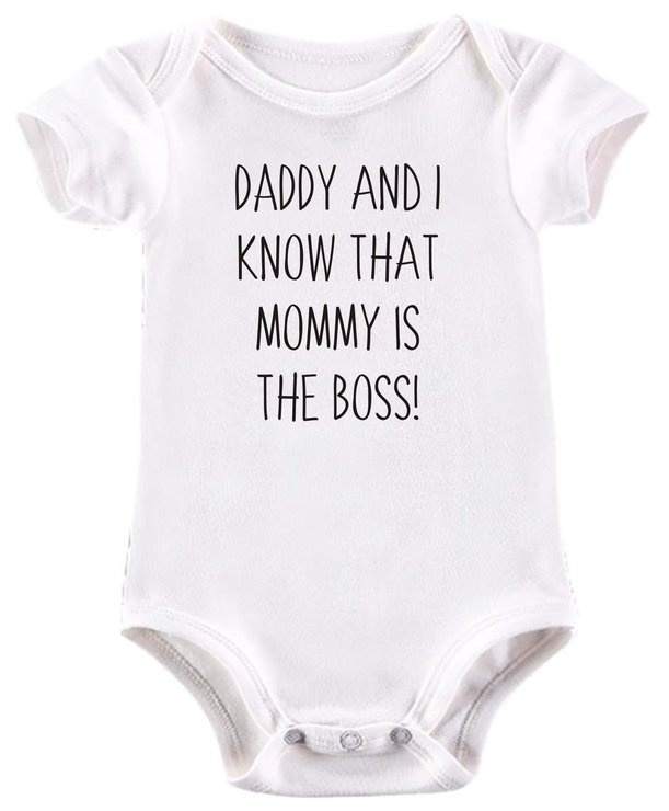 Daddy and i know that Mommy is the boss baby grow by BTSN Design (Pty)LTD