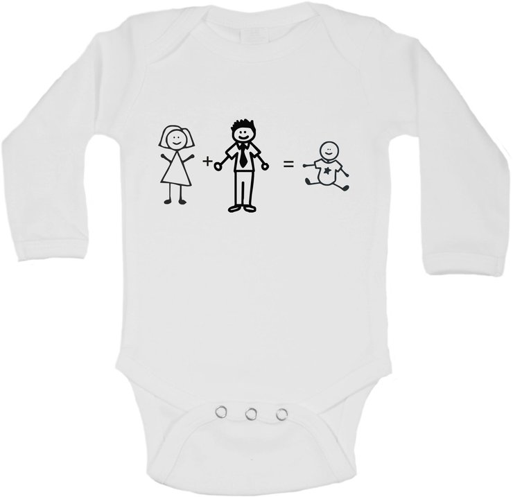 Mommy + Daddy = Baby - pregnancy announcement baby grow by BTSN Design (Pty)LTD