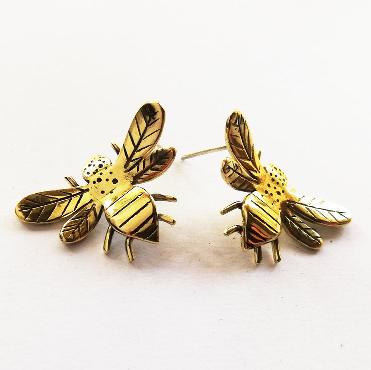 BUMBLE BEE Stud Earrings in Brass/Copper by Miss H Jewellery Design