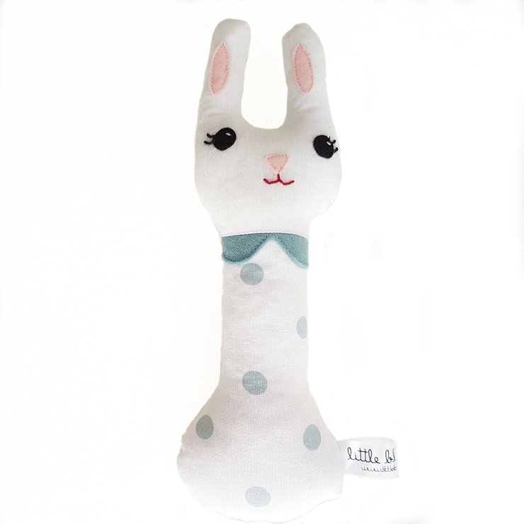 Handmade bunny rattle by Little Black Ant