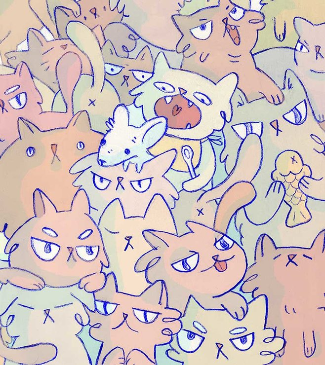 Thousand Cats - Art Print A3 by Bvbblegvm illustrations