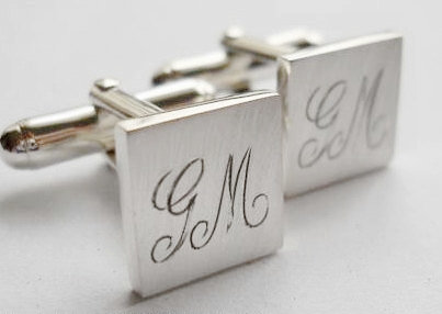 square cufflinks with engraved initials by thula