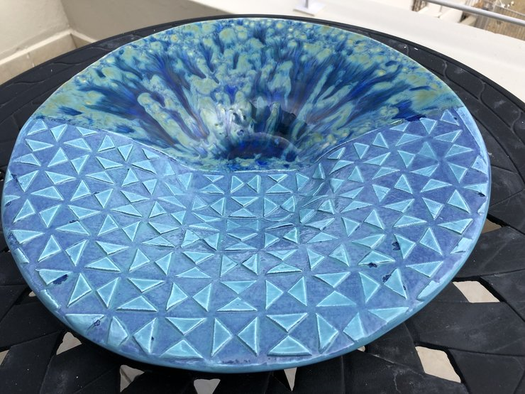 Blue Green Geometric Pattern Splatter Bowl by Clay Creations 56 - Handmade Pottery