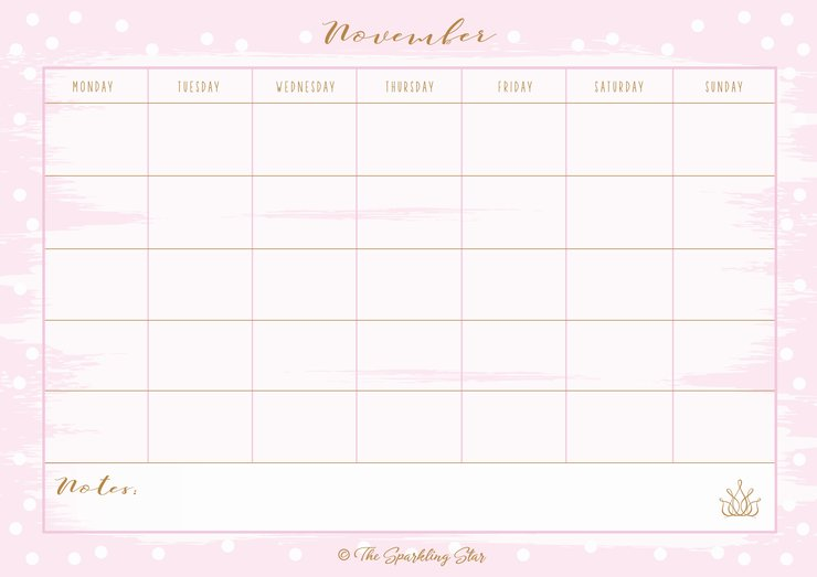 Calendars - 12 months blank - printables by The Sparkling Star