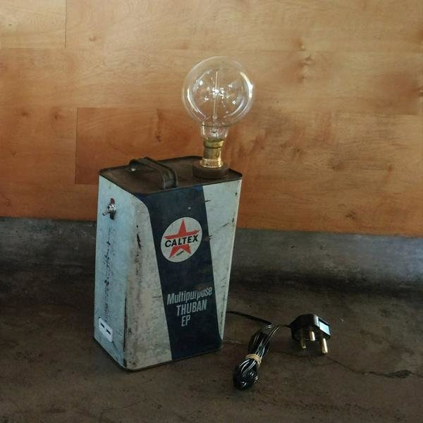 Caltex Oil Tin Lamp (with 2X USB Charging Ports) by Unique Creations
