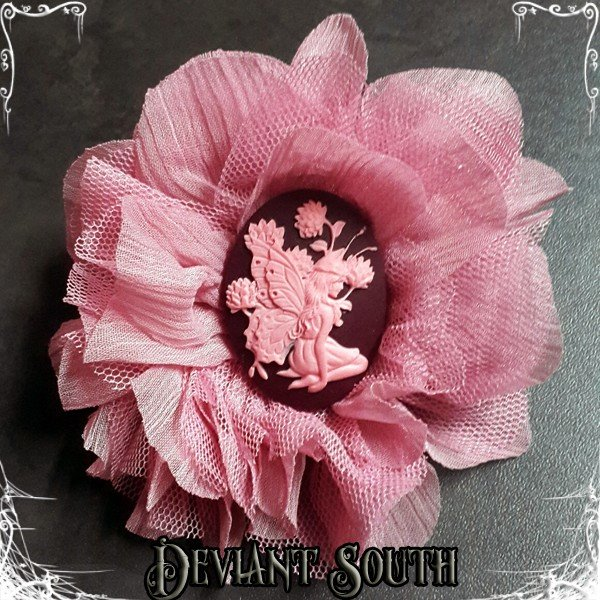 [DS-HF294] Cameo Hair Flower - Pixie Pink by Deviant South Avant-Garde Boutique