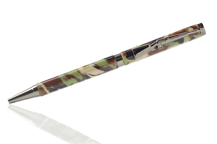 Handmade Polymer Clay Pen - Camo Green with rifle clip by N - Hand Crafted Magic