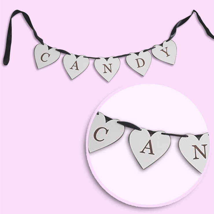Wooden Candy heart bunting by Polkadot Box