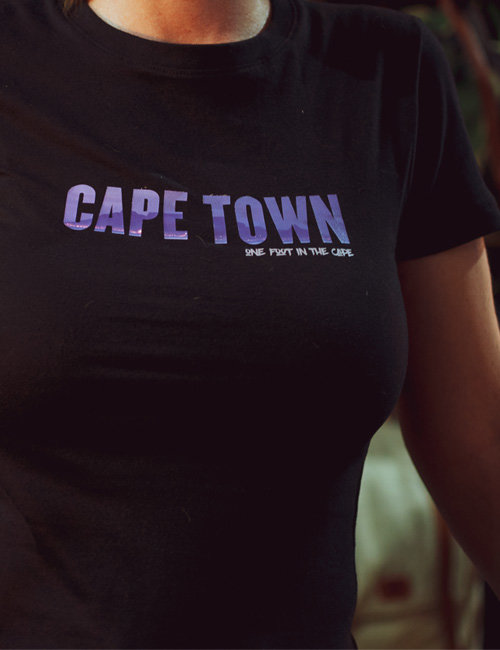 Cape Town T-shirt with Table Mountain detail – ladies fit by Modern & Tribal Designs