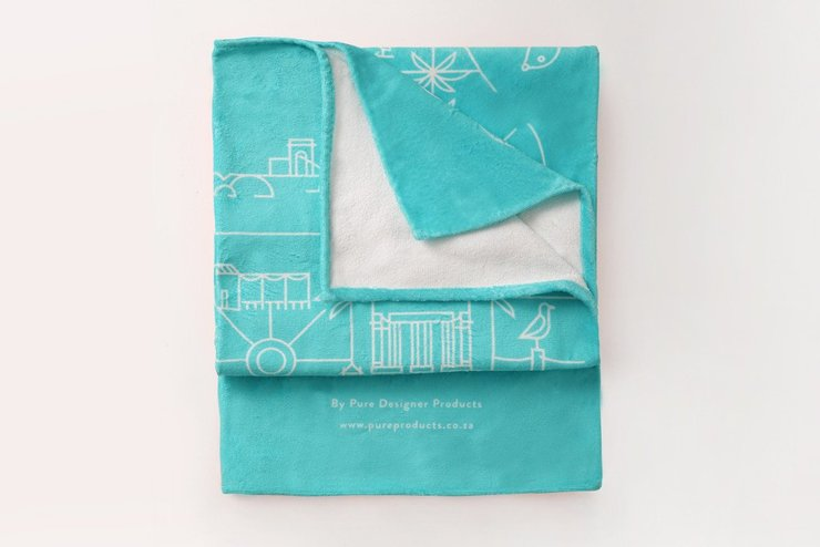 Blue Cape Town Towel (no tassels) by Pure Designer Products