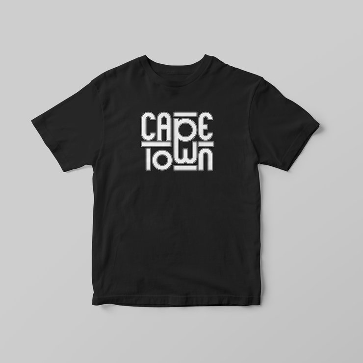 Cape Town (Rounded) Black T-Shirt by Pleekō