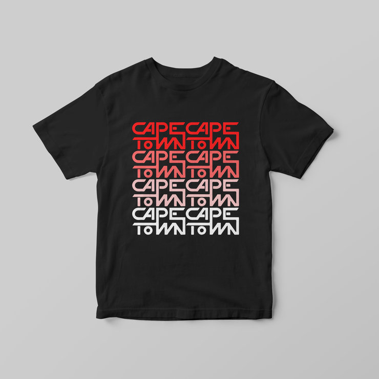 Cape Town (Stacked) Black T-Shirt by Pleekō