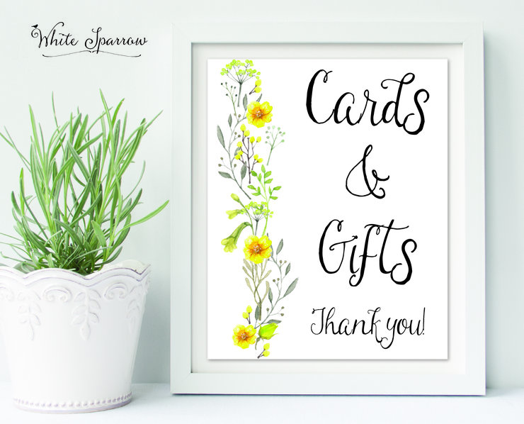 and Gifts Table Sign, wedding decorations, wedding gift sign, wedding ...