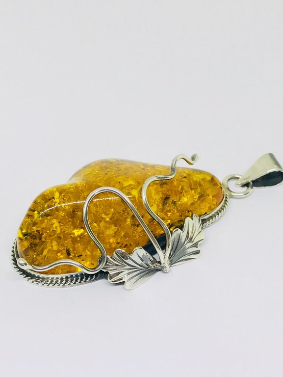 Baltic Amber Leaf Pendant  by ZugZwang Jewellery