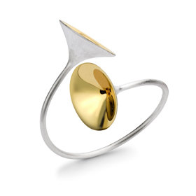 FANFARE BANGLE GOLD PLATED DETAIL 925 Sterling Silver by NQ JEWELLERY DESIGN SERVICES PTY