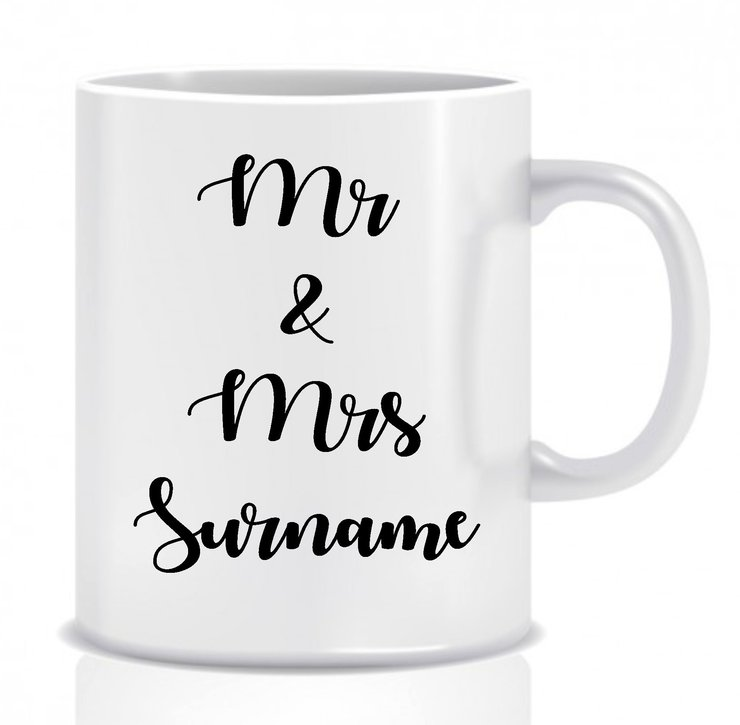 Decal coffee cup Mr&Mrs (Decal only) set of 6