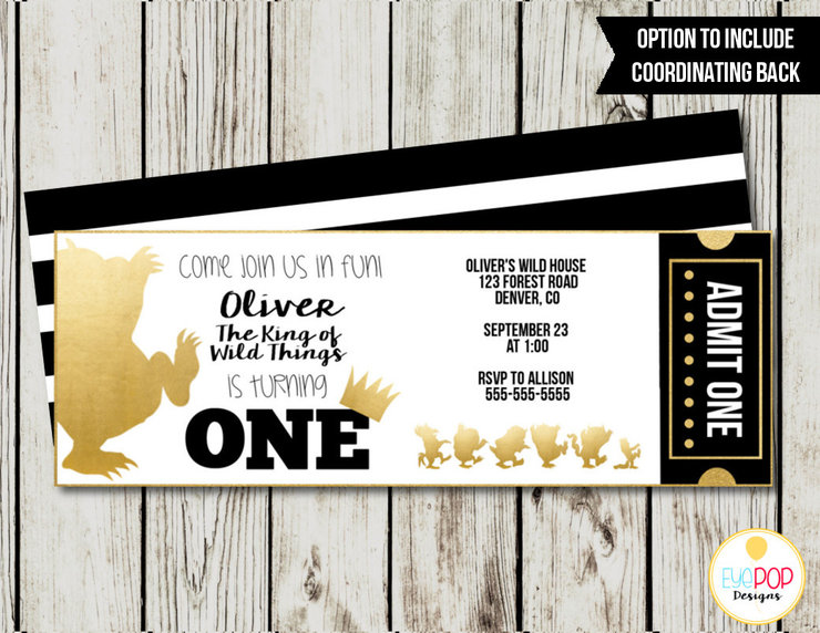 Where The Wild Things Are Ticket Invitation, Where The Wild Things Are Birthday Invitations, Party Invite, Wild One, Gold, Black, White by EyePop Designs